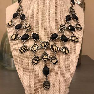 Black Cream Zebra Silver Statement Necklace
